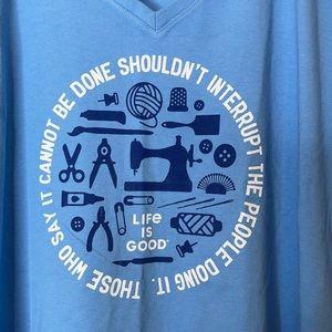 Life is Good Blue V-Neck Crusher Tee T-Shirt